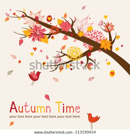 Greeting card with autumn branch - stock vector