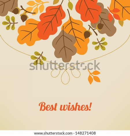 Greeting card with autumn leaves - stock vector