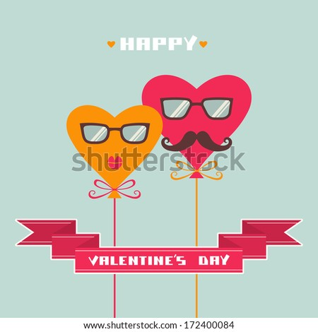 Greeting card with balloons of color hearts, banner, inscription - Happy Valentine's Day. Romantic abstract cute decorative simple illustration. Comic hipster concept of couple enamored for wedding - stock vector
