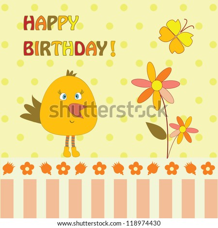 greeting card with bird and flower - stock vector