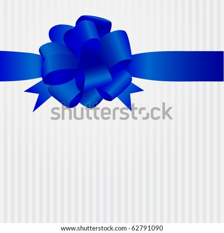 Greeting card with blue satin bow and ribbon - stock vector