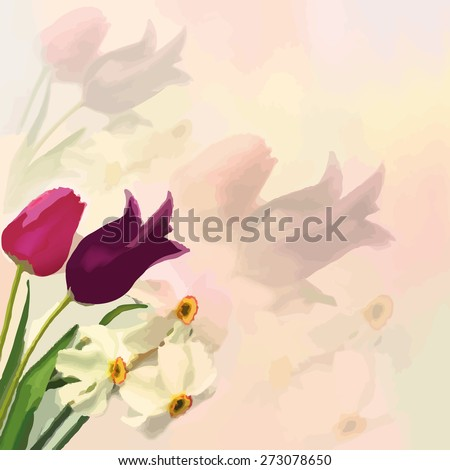 Greeting card with bouquet of tulips and narcissus on colorful hazy background - stock vector
