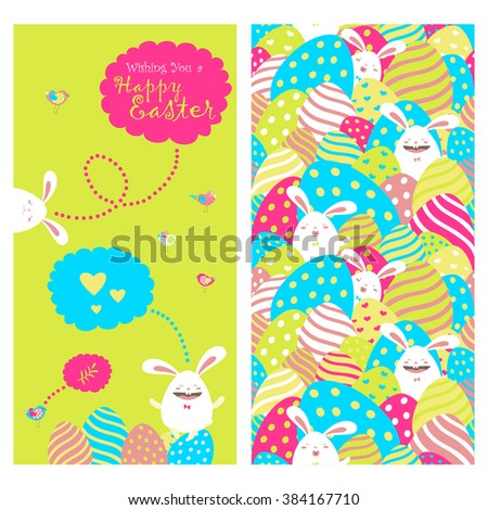 Greeting card with bunnies and easter eggs  - stock vector