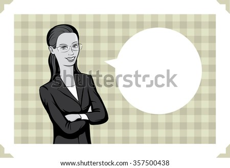 Greeting card with business woman - stock vector