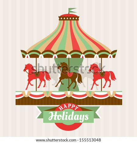 Greeting card with carousel vector illustration - stock vector