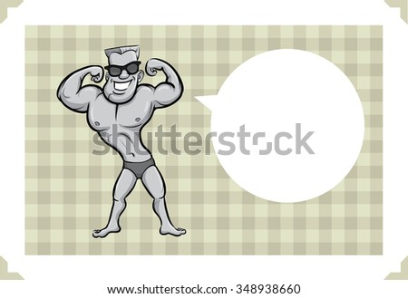 Greeting card with cartoon bodybuilder - just add your text - stock vector