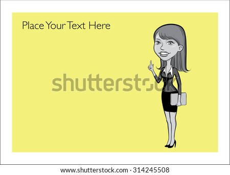 Greeting card with cartoon business woman pointing - place your custom text - stock vector