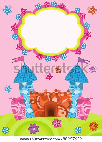 Greeting card with cartoon castle