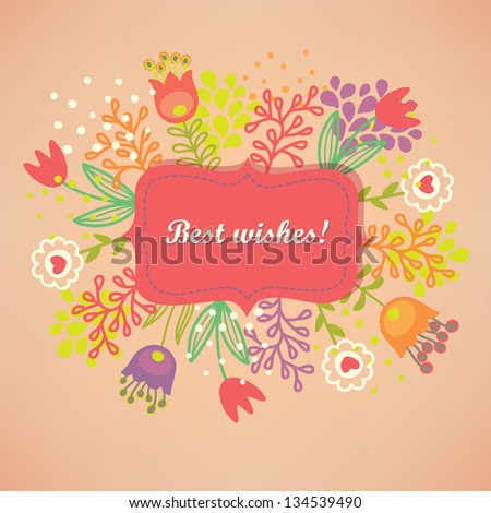 Greeting card with colorful flowers - stock vector