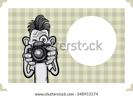 Greeting card with crazy photographer making pictures - just add your text - stock vector
