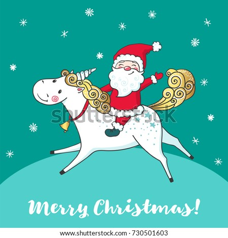 greeting card with cute unicorn and santa claus cartoon handdrawn style hello winter time - Santa Claus Christmas Cards