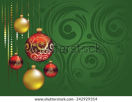 Greeting card with decorative red and gold Christmas balls ornaments. - stock vector