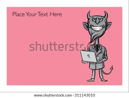 Greeting card with devil with laptop computer - personalize your card with a custom text - stock vector
