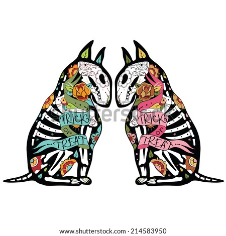 Greeting card with dogs, skeletons with floral patterns. Colorfull Bullterriers. Vector illustration  - stock vector
