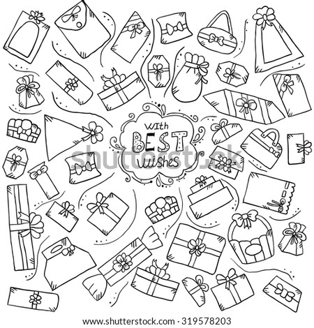 greeting card with doodle gift box