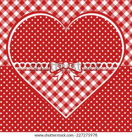 Greeting card with dotted heart. Red and white background with checked and polka dots decoration. Scandinavian style. Monochrome vector illustration. - stock vector