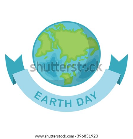 Greeting card with Earth day. Earth Day April 22 and blue Ribbon.  Globe on white background. Vector illustration