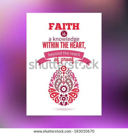 Greeting card with Easter egg symbol and typographical design - stock vector
