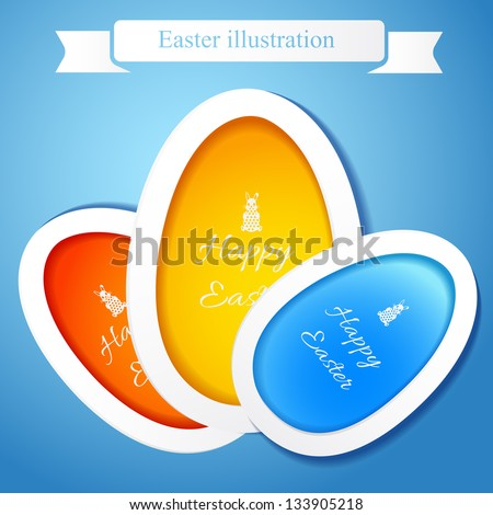 Greeting card with Easter egg symbol. Vector Illustration, eps 10, contains transparencies. - stock vector