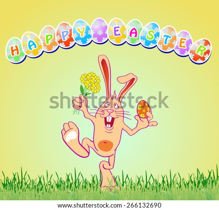 greeting card with easter eggs and rabbit, vector illustration