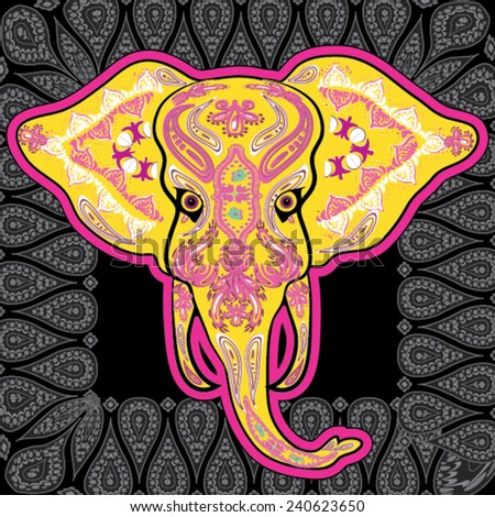 Greeting card with Elephant, skeletons with floral & Ethnic patterns. Colorfull Vector illustration. - stock vector