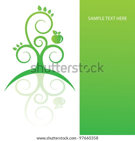 Greeting card with flower tree