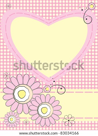 Greeting card with flowers and heart