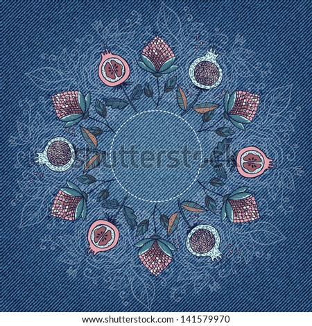 Greeting card with flowers and place for your text in vector EPS 10. Invitation card on denim background.