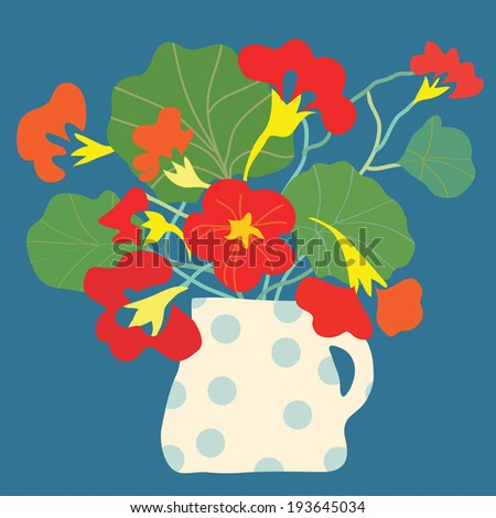 Greeting card with flowers and pot bright decorative design - stock vector