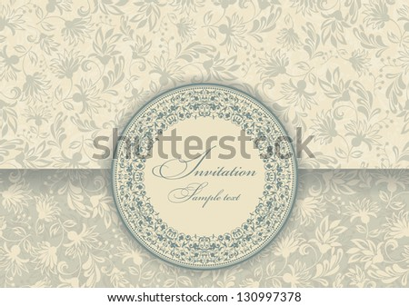 Greeting Card with Flowers in a baroque style - stock vector