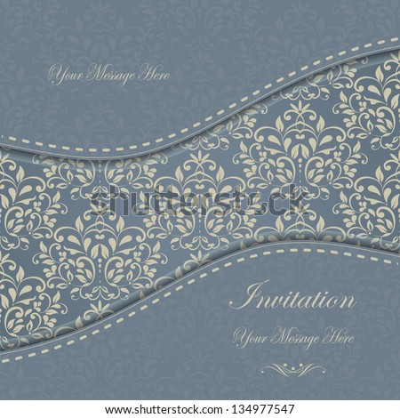 Greeting Card with Flowers in a baroque style . eps10