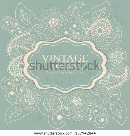 Greeting Card with Flowers in a folk style