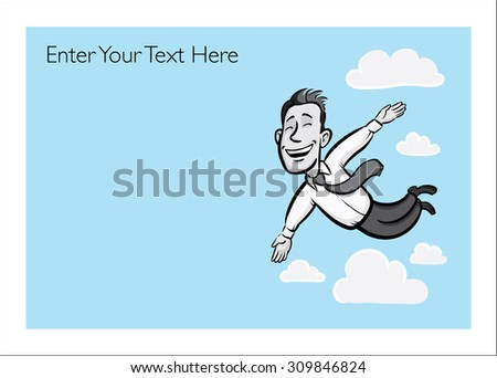 Greeting card with flying happy businessman- personalize your card with a custom text - stock vector