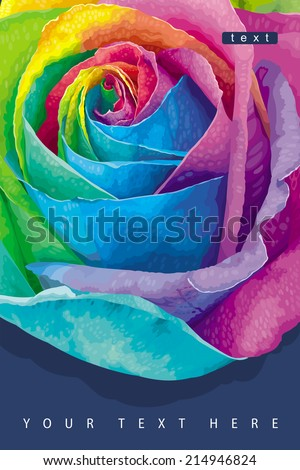 Greeting card with futuristic rose colored in the spectrum colors on the dark background - stock vector