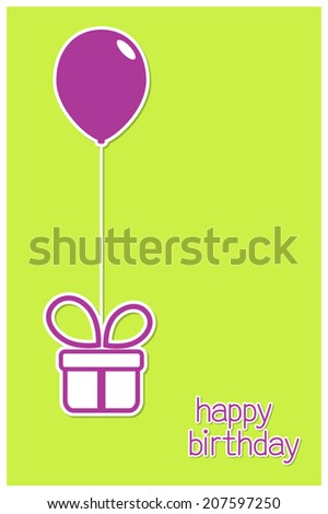 Greeting card with gift box and balloon in paper cutout style - stock vector
