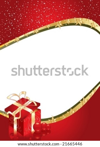 Greeting card with gift box and copy space or place for your image, vector illustration - stock vector