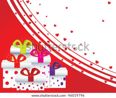 Greeting card with gifts - stock vector
