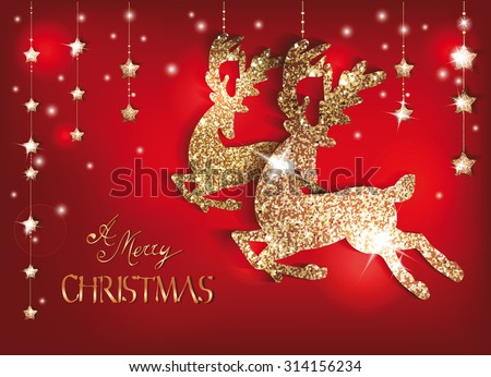 Greeting card with gold shiny deers and christmas decorations - stock vector