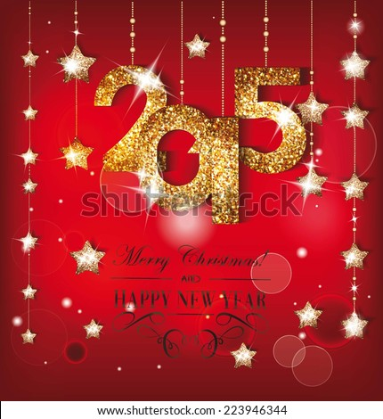 Greeting card with gold shiny numeric and christmas decorations - stock vector