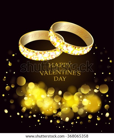 Greeting card with gold wedding rings.Happy holiday - stock vector