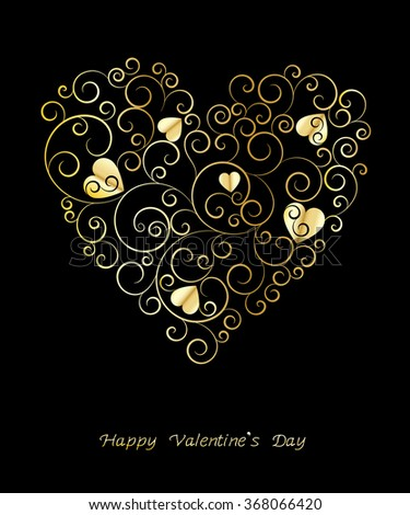 Greeting card with golden pattern.Happy Valentines Day. - stock vector