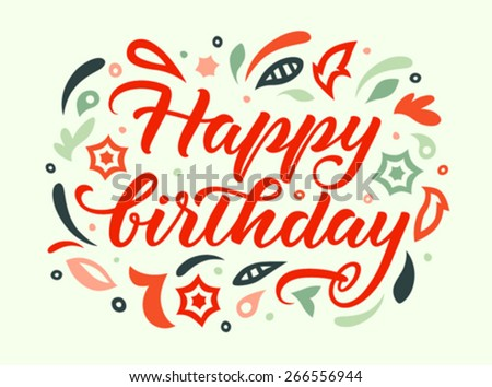 greeting card with handwritten word happy birthday - stock vector