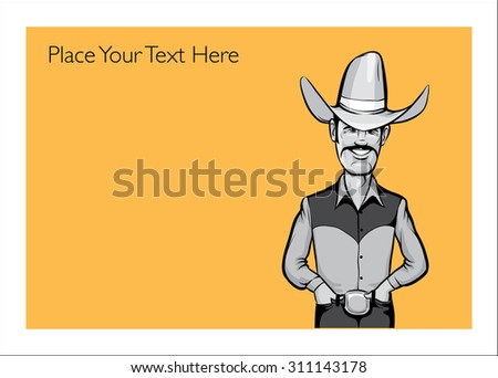 Greeting card with happy cowboy - personalize your card with a custom text - stock vector
