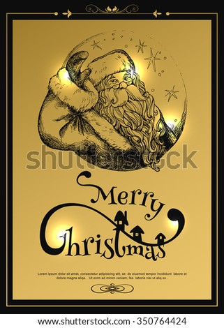 Greeting card with happy face santa. Happy santa vintage. Cheerful face santa. Greeting card Santa Claus gold background. Happy santa. Happy santa vector. Santa smile. Santa claus laughing. - stock vector