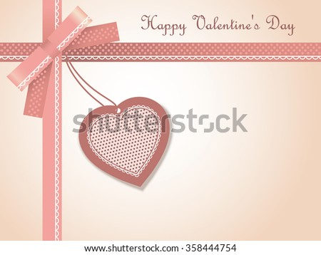 Greeting Card with Heart, Bow, Ribbons and text Happy Valentine's Day - stock vector