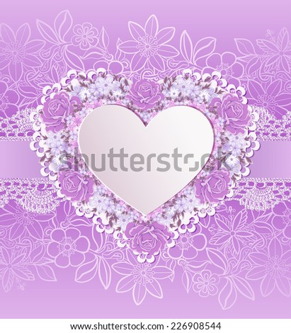 Greeting card with heart shape. Flowers - stock vector