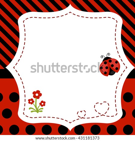 Greeting card with ladybug. Background with flower and ladybug.