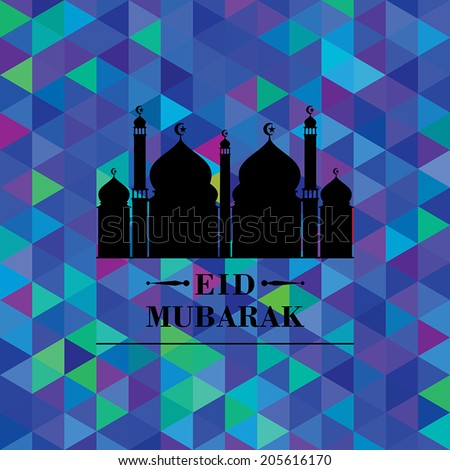 Greeting card with mosque silhouette on abstract colorful geometric background for holy month of muslim Eid Mubarak.  - stock vector