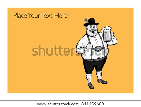 Greeting card with octoberfest man - personalize your card with a custom text - stock vector