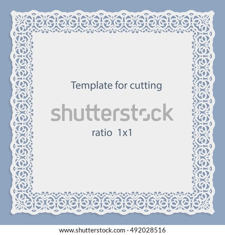 Greeting Card With Openwork Border, Paper Doily Under The Cake, Template  For Cutting,  Border Paper Template